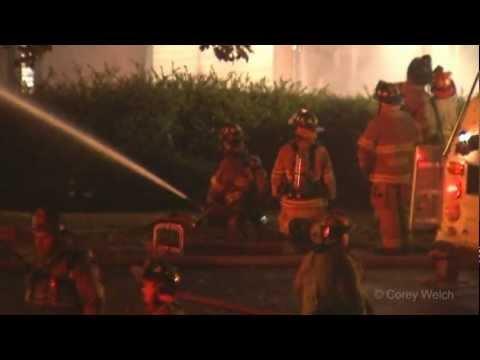 Multi-alarm fire levels a mill type building in Ashaway, RI