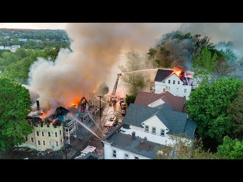 Drone Footage of Lounsbury St. Multi Alarm Fire (Waterbury, CT) 5/17/17