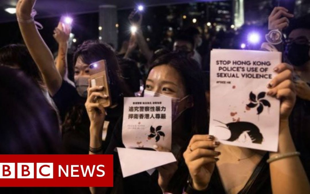 Hong Kong park lights up in sex abuse protest – BBC News